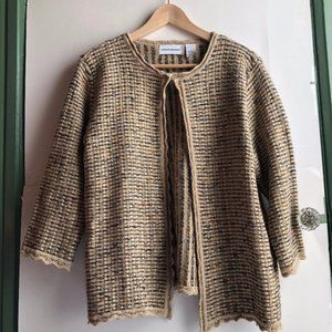ALFRED DUNNER Tan Gold Woven 3/4 Sleeve Cardigan